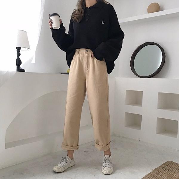 2020新款韓版ulzzang怪味少女褲直筒百搭高腰闊腿休閒牛仔褲女秋