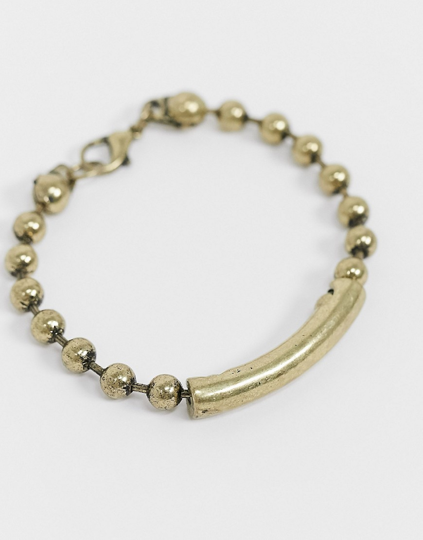 Status Syndicate burnished gold finish ball chain bracelet with curved ID bar