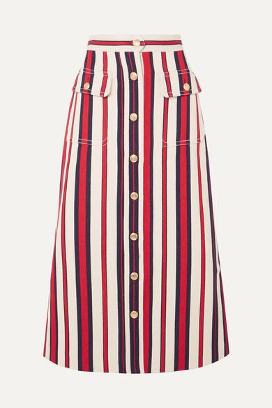 Gucci - 条纹牛仔中长半身裙 - 红色 - IT40