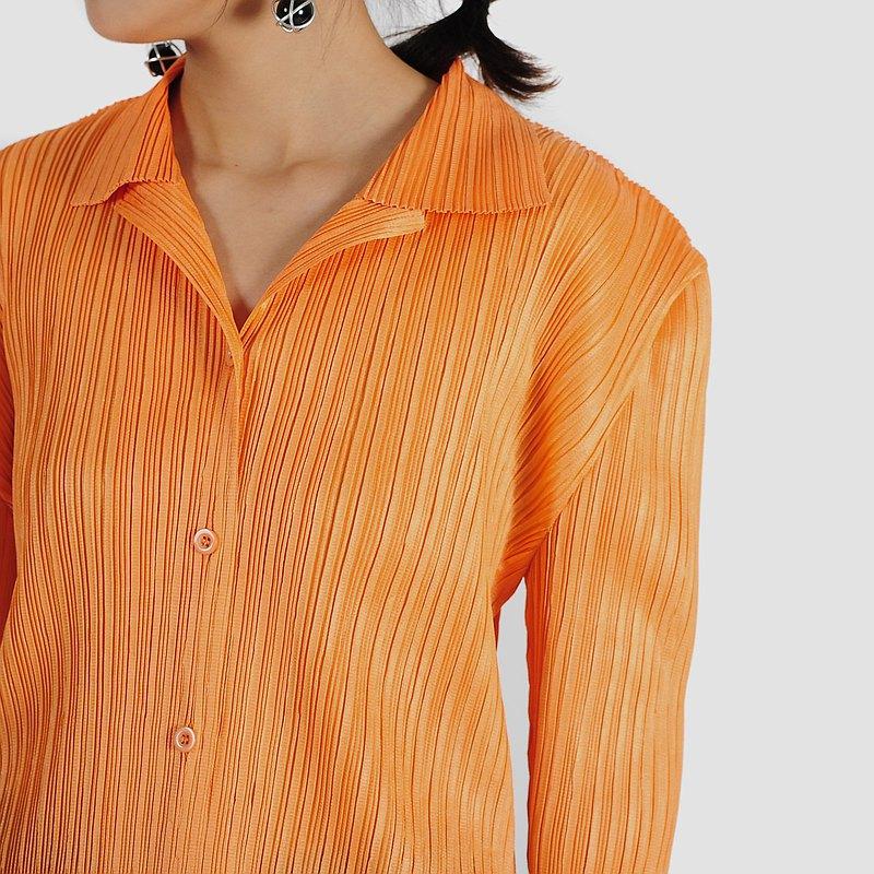 【蛋植物古着】粉光橘彩純色皺褶古著襯衫