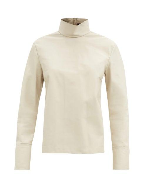 Joseph - Bibo High-neck Leather Top - Womens - Ivory