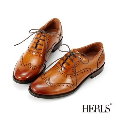 HERLS牛津鞋-光澤全真皮翼紋沖孔擦色圓頭牛津鞋-棕色