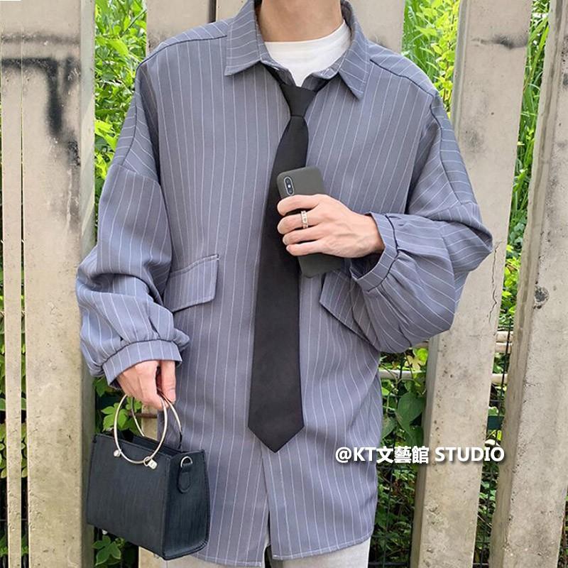 長袖襯衫男 白襯衫男 條紋長袖襯衫 大碼寬鬆休閒襯衫 青少年學生薄外套 百搭個性休閑襯衣 韓版潮流襯衫男