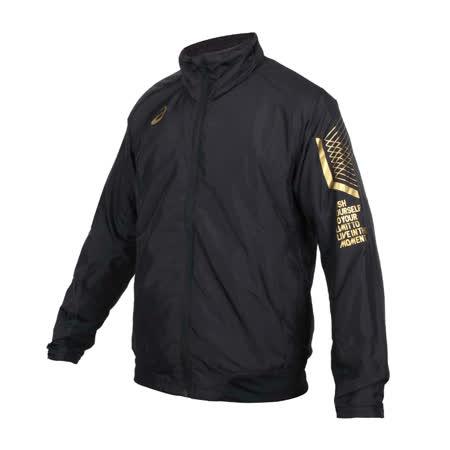(男) ASICS LIMO平織外套-刷毛 保暖 立領外套 慢跑 風衣 亞瑟士 黑金