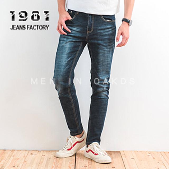 【1981牛仔褲】後片字母點綴藏籃刷青潮流牛仔褲/伸縮小直筒#32505