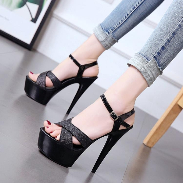 特惠 走秀神器模特高跟鞋細跟性感黑色防水臺15cm恨天高超高跟涼鞋女夏