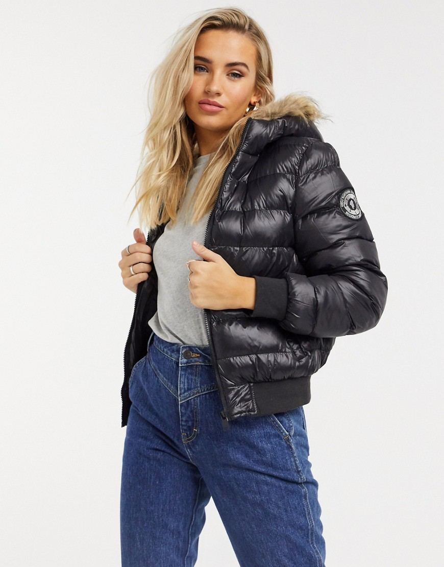Brave Soul river padded jacket with faux fur trim-Black