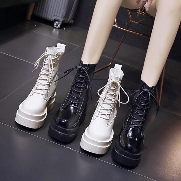 楔型鞋 顯腳小馬丁靴女春秋單靴2020新款英倫風厚底女靴正韓內增高短靴潮