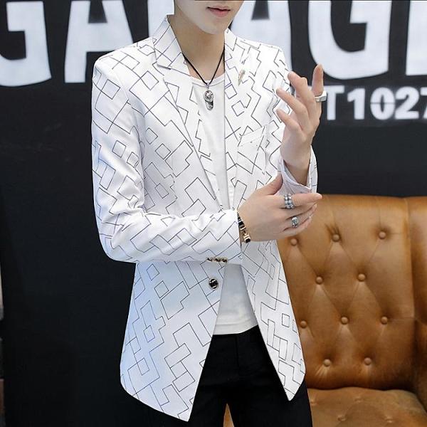 中長款西服男秋季新款韓版修身外套休閒英倫風格子西裝上衣潮 有緣生活館