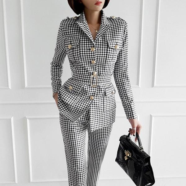 OL套裝兩件式通勤060#新款兩件套韓版氣質時尚復古格子西裝領外套修身長褲套裝NE49快時尚