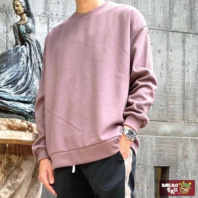 【AMERO】正韓 男裝素面長袖圓領T恤 糖果色系 寬鬆 落肩 情侶裝共17色