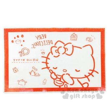 Hello Kitty 方形透明矽膠烘培專用墊《紅》45x64cm.揉麵墊.防塵墊