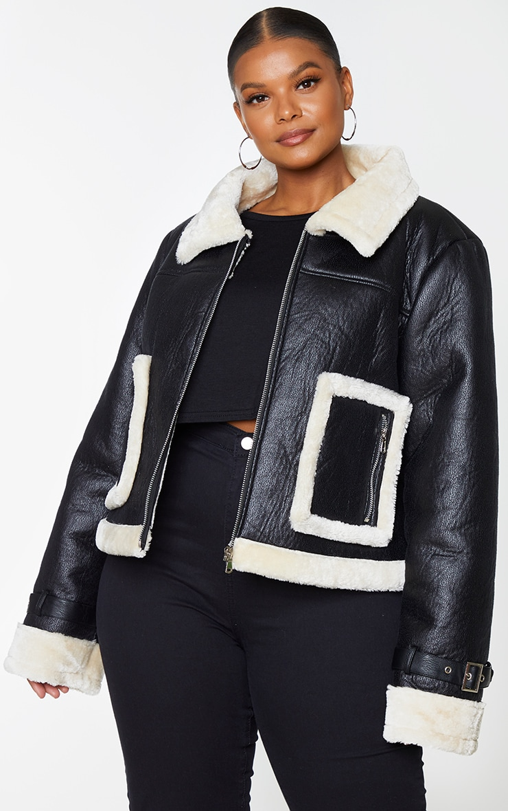 Plus Black Borg Trim Cropped PU Jacket