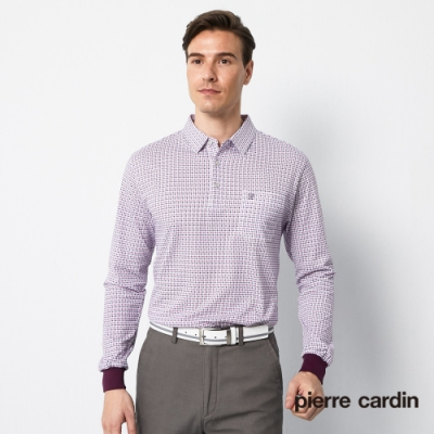 Pierre Cardin皮爾卡登 男裝 單面吸排印花格紋薄長袖POLO衫-紅色(5195264-76)