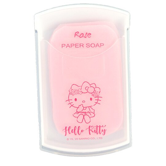 小禮堂 Hello Kitty 攜帶型滑蓋盒裝紙肥皂 紙香皂 皂紙 玫瑰香 (30入 粉 花朵)