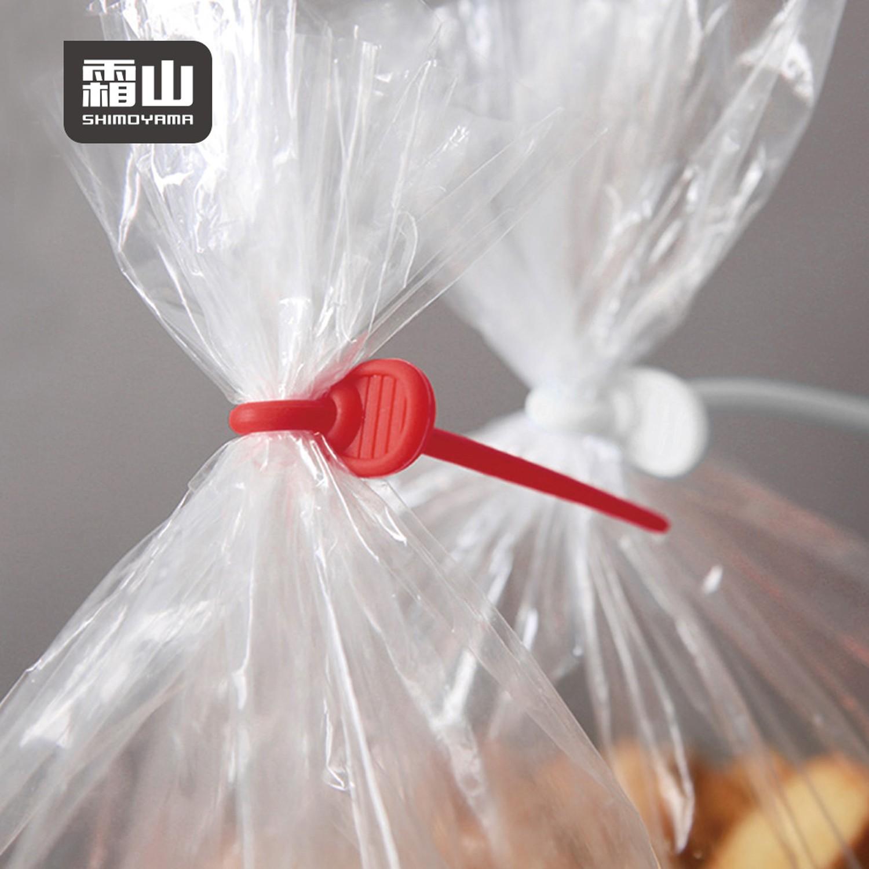 日本霜山 - 可扣式矽膠食品束帶/封口器/捲線器(3種不同尺寸)-18條入
