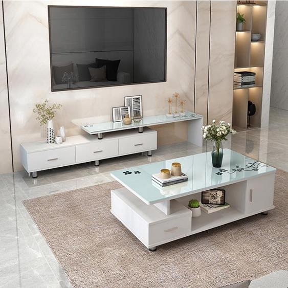 電視櫃 電視櫃茶幾組合套裝客廳玻璃伸縮臥室簡易電視機櫃現代簡約小戶型