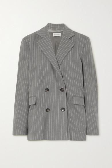 LOULOU STUDIO - Ficaja 双排扣细条纹弹力羊毛西装外套 - 灰色 - medium
