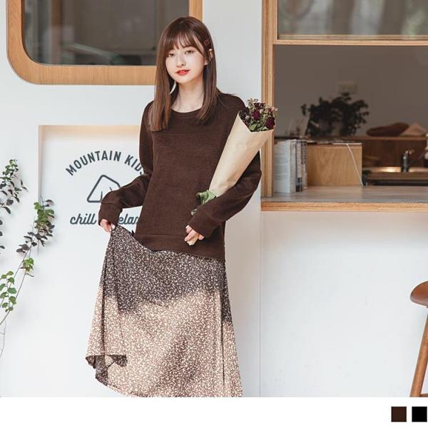 《DA8085-》柔美印花假兩件拼接細針織輕暖洋裝 OB嚴選