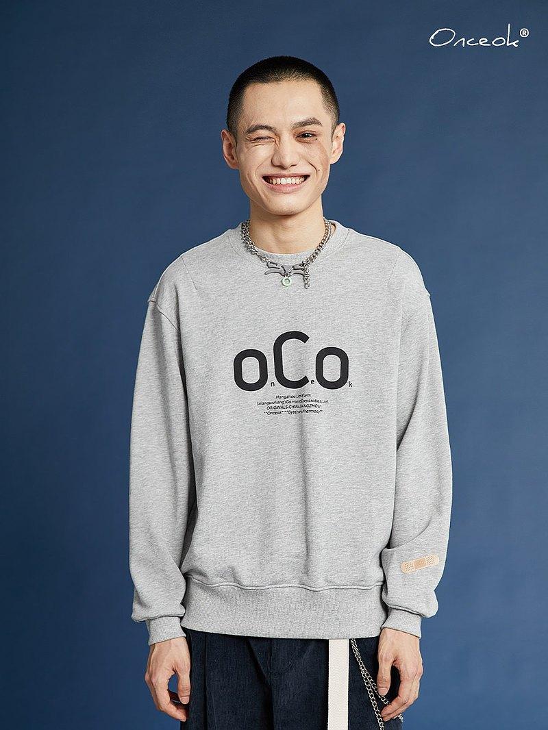 玩樂局Onceok品牌趣味LOGO創可貼基礎套頭純棉寬松休閒情侶衛衣男