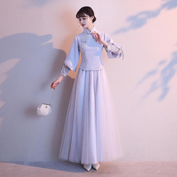 中式伴娘服 2020新款創意禮服夏季女裝仙氣質婚禮姐妹團中國風