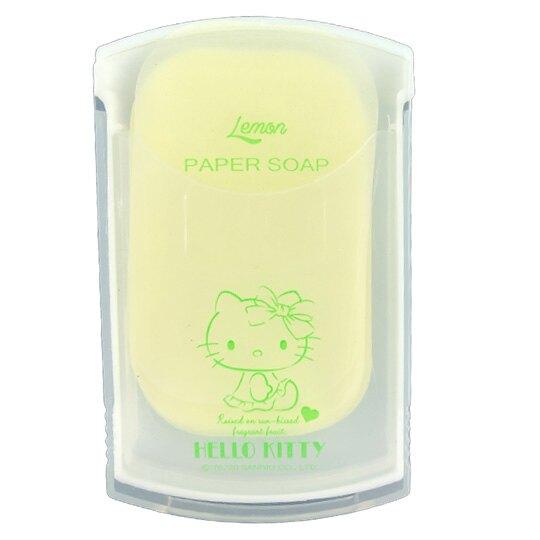小禮堂 Hello Kitty 攜帶型滑蓋盒裝紙肥皂 紙香皂 皂紙 檸檬香 (30入 黃 檸檬)