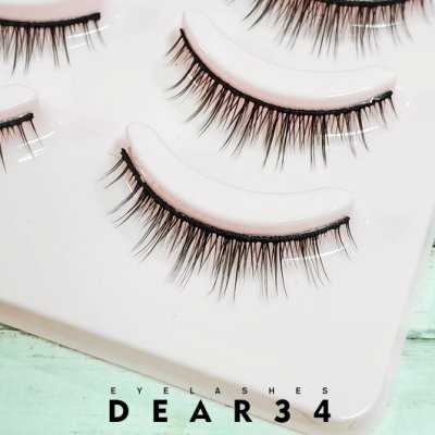 《Dear34》磨尖5B-12硬梗眼中長束束狀簇狀根根分明短款0.8cm 純手工編織假睫毛一盒五對入