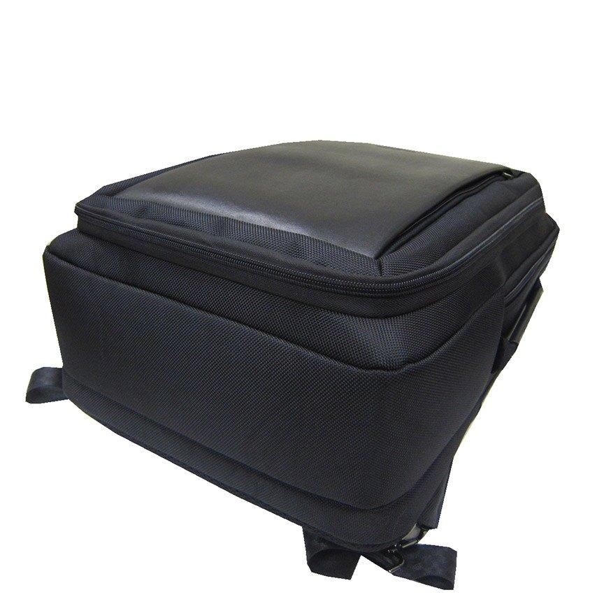 ~雪黛屋~SKYBOW 後背包大容量14吋電腦可A4夾二層主袋+外袋共六層固定桿防水尼龍布+皮BSD1020201800
