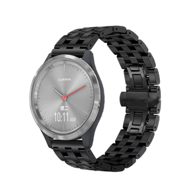 Garmin vivomove 3S/vivoactive 4s 18mm不鏽鋼五珠鍊式錶帶