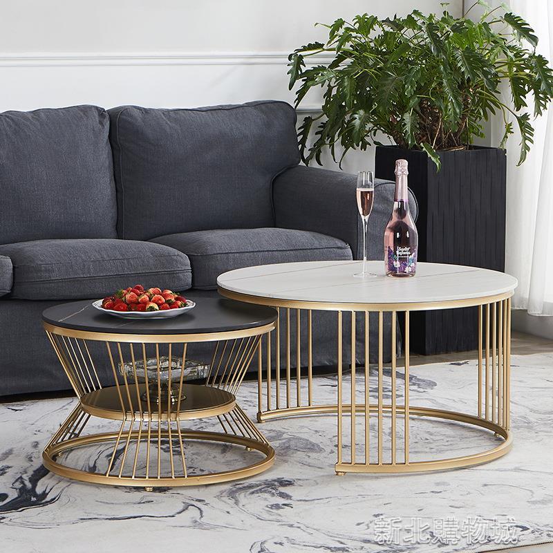 2021新款北歐輕奢巖板圓形茶幾小戶型客廳簡約現代網紅子母創意桌  【新年鉅惠】