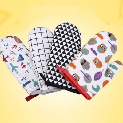 插畫印花棉質隔熱手套/烘焙專用/防燙手套(二入)