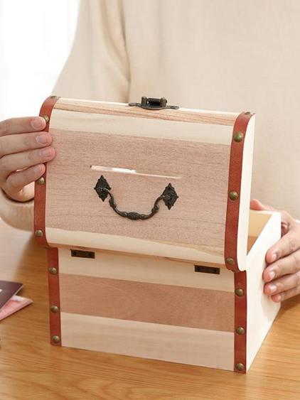 帶鎖收納盒木盒子小箱子儲物盒木箱子密碼化妝品首飾證件盒家用小