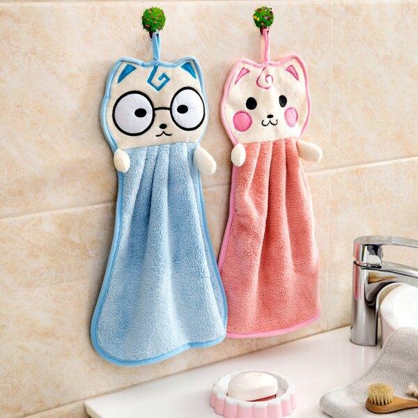 速乾珊瑚絨擦手巾 可掛式貓臉擦手巾 洗碗毛巾抹布 卡通擦手布 2色可選