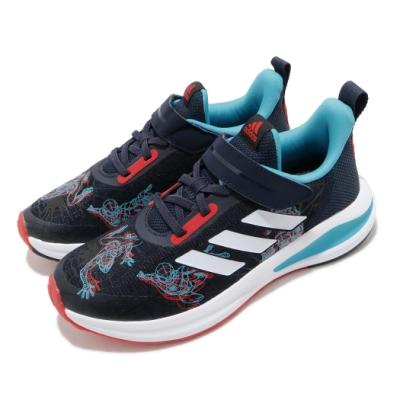 adidas 慢跑鞋 FortaRun Spiderman 童鞋 愛迪達 蜘蛛人 聯名 運動 魔鬼氈 中童 藍 紅 FV4188