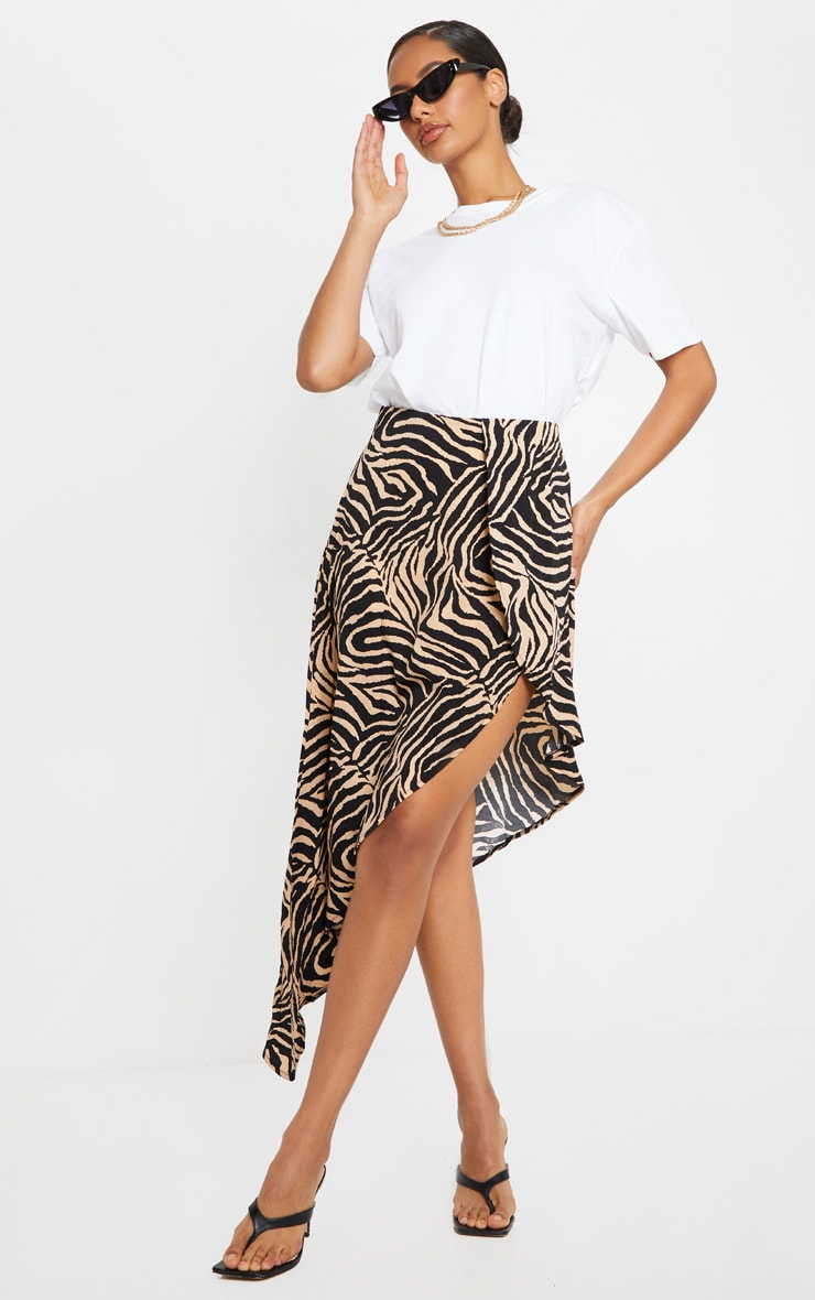 Tan Zebra Print Satin Asymmetric Skirt