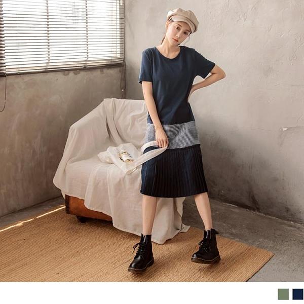 《DA8010-》高含棉千鳥格百褶拼接短袖洋裝 OB嚴選