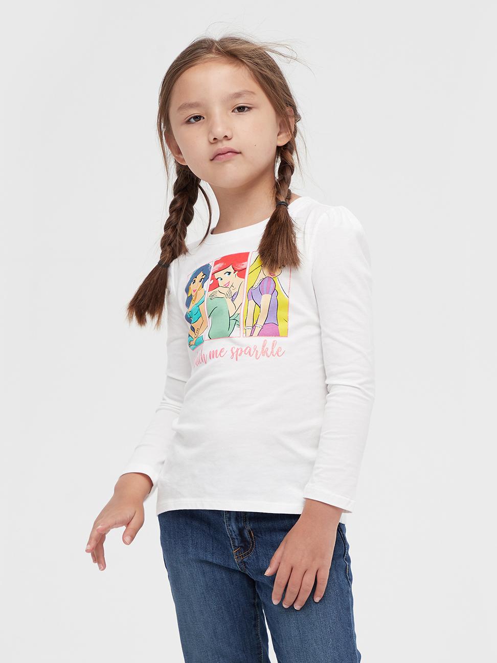 女童 Gap x Disney 迪士尼公主系列圓領長袖T恤