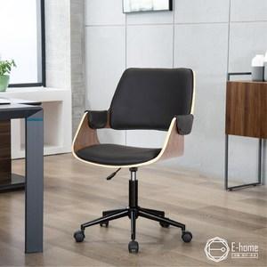 E-home Hugo雨果中背曲木扶手電腦椅-黑色黑色