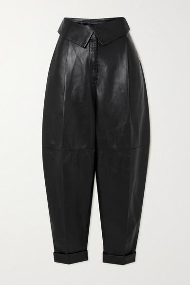 Proenza Schouler - 褶裥皮革锥形裤 - 黑色 - US2