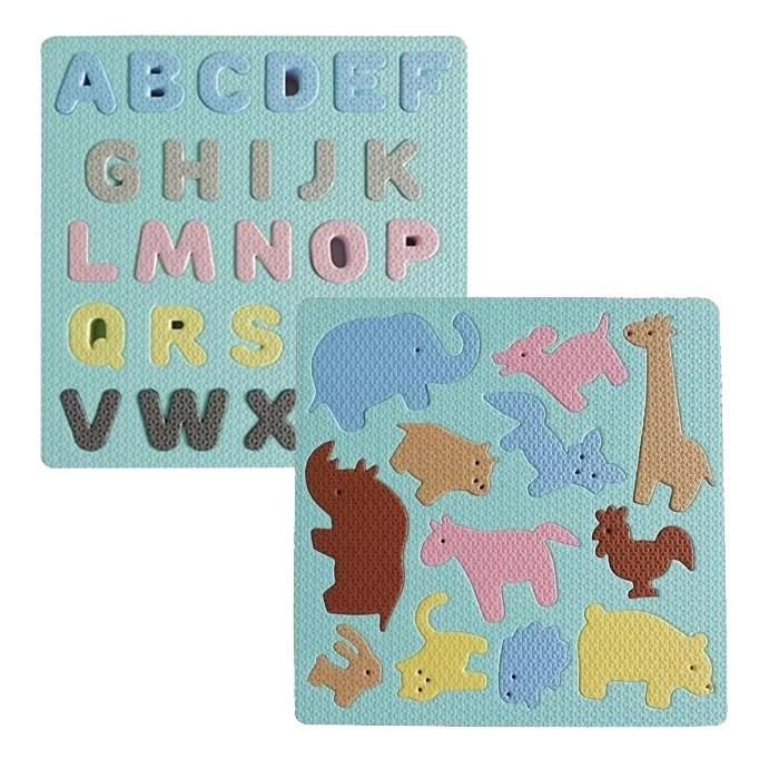 Pato Pato 動物園配對拼圖 ABC字母學習軟積木 馬卡龍色 益智巧拼 地板拼圖 靜音教具 0604 台灣製