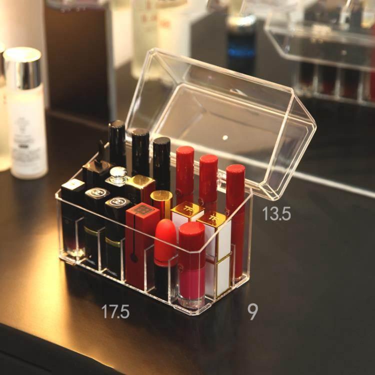 桌面帶蓋防塵口紅收納盒放唇釉收納格化妝品展示整理架小多格便攜