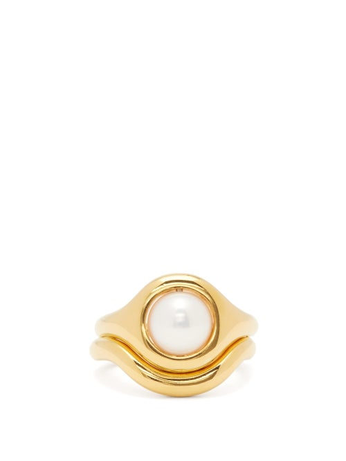 Charlotte Chesnais Fine Jewellery - Pearl Eclipse 18kt Gold-vermeil Ring - Womens - Gold