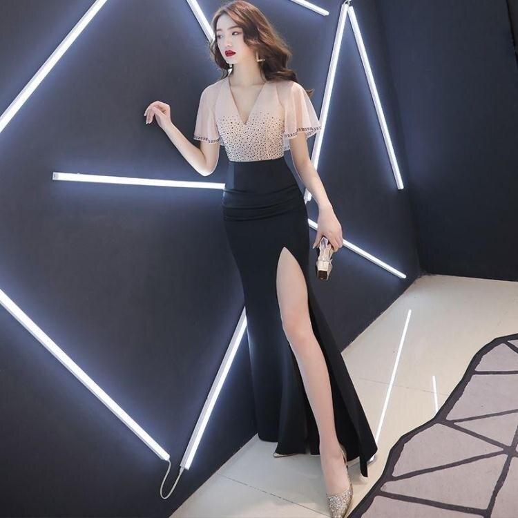 宴會禮服 晚禮服女2020新款宴會高貴氣質長款仙氣魚尾修身人名媛連身裙 秋冬新品特惠