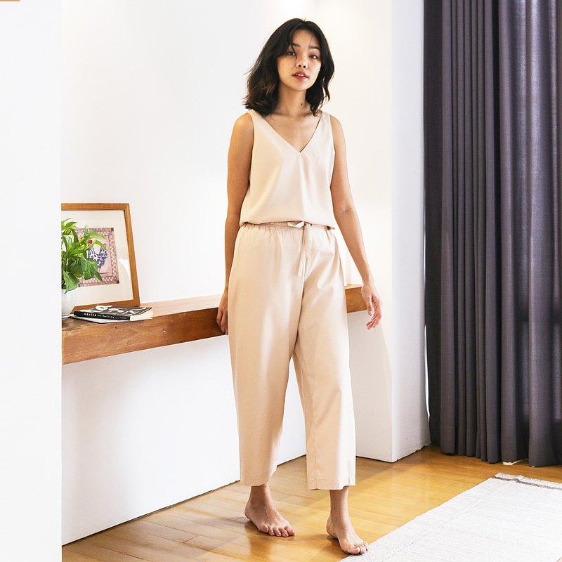 Heima trousers set 意大利真絲褲套裝 : 淺米色  , 全身襯裡