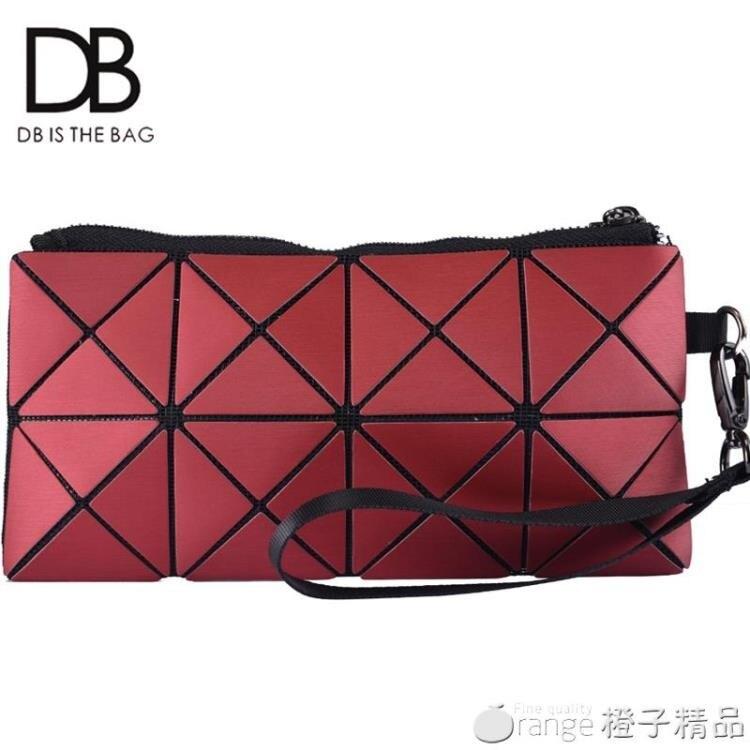 DB新款女士手拿包女折疊包長款女包幾何菱格手挽包小錢包包
