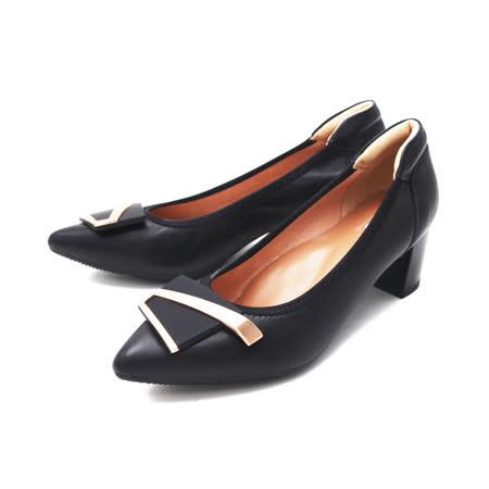PQ (女) 尖頭方扣淑女高跟鞋 女鞋 -黑(另有杏色)