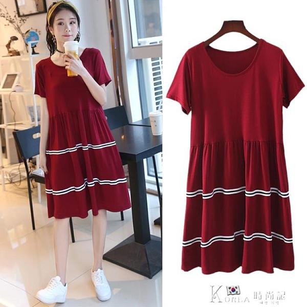 洋裝 新款莫代爾短袖洋裝圓領條紋寬鬆長裙百搭大碼打底裙顯瘦大擺裙 Korea時尚記