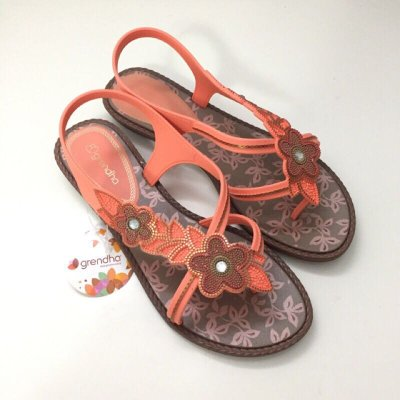 《現貨》Grendha 女生夾腳涼鞋 巴西尺寸35(花朵串飾夾腳涼鞋-亮橘色)