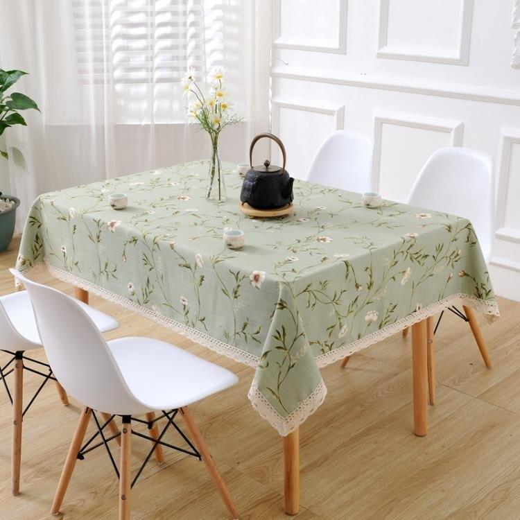 桌布 正方形茶幾餐桌桌布布藝棉麻風碎花美式小清新ins長方形家用台布  七色堇 新年春節送禮