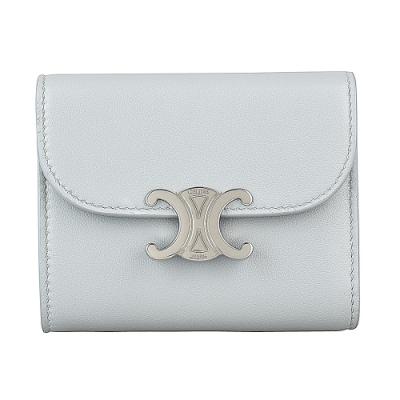 CELINE 金屬銀字LOGO光滑羊皮5卡扣式短夾(小/礦物藍)